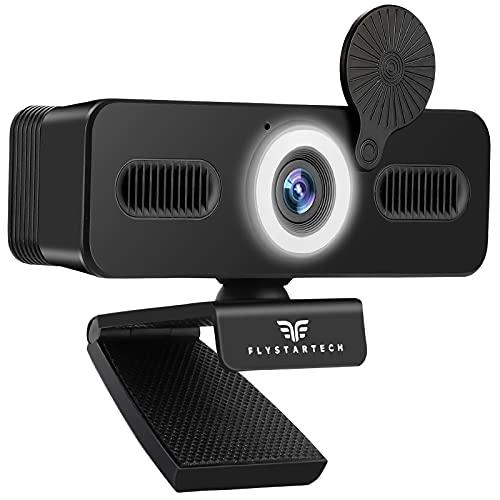 FLYSTARTECH Webcam 1080P Full HD con Microfono, Luce ad Anello con Luminosità Regolabile, Compatibile con Windows, Mac e Android, per Videochiamate, Studio, Conferenza, Giochi