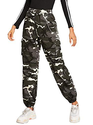 SOLY HUX Damen Sport Sweatshose Camouflage Hosen mit Seiten Taschen Kette Laufhose Bunt Capris Jogger Pants Farbe #1 S