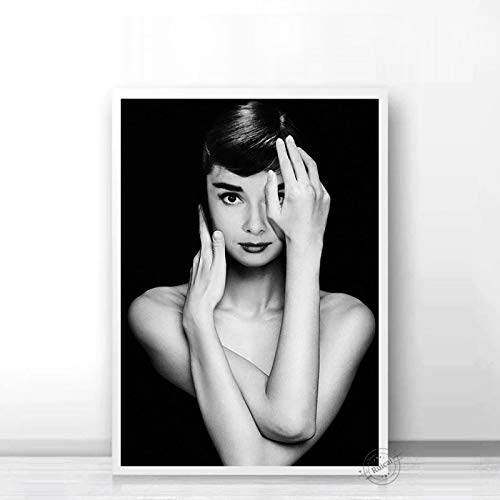 Audrey Hepburn Poster Movie Star Prints Nordic Black White Wall Art Canvas Painting Wall Pictures For Living Room Home Decor a23 50X70cm