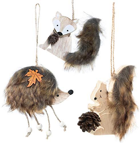 Logbuch-Verlag 3 herbstliche Deko Anhänger aus Holz Fuchs + Igel + Eichhörnchen Natur braun - natürliche Herbstdeko zum Aufhängen