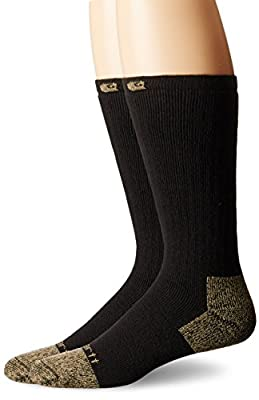 Carhartt Men's 2 Pack Full Cushion Steel-Toe Cotton Work Boot Socks, Black, Shoe Size: 11-15
