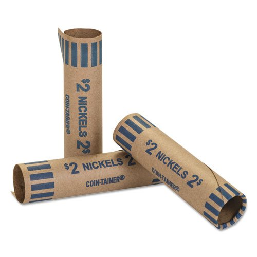 Preformed Tubular Coin Wrappers, Nickels, 2, 1000 Wrappers/Box