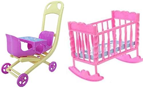 Pièces de soins poupée poupée poussette enfant en bas âge poupée chaise jouet accessoires fille poupée bébé lit landau accessoires de maison de poupée Durable et attrayant