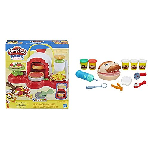 Play-Doh Stamp 'n Top Pizza Oven Toy with 5 Non-Toxic Colors & Doctor Drill 'n Fill Set,Multicolor,1 Pack