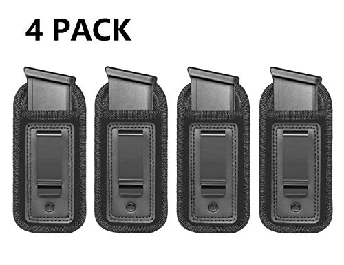 4-Pack Universal IWB Magazine Holster Concealed Carry 9mm .40 .45 | Inside The Waistband Mag Pouch | Mag Holster for Glock 19 43 17 Sig 1911 S&W M&P | Fits Any 7 10 15 Round Clips for All Pistols