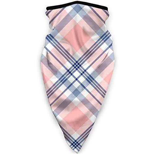 Patrón de cuadros a prueba de viento en azul marino-rosa-y-blanco Turbante de bicicleta medio pasamontañas sombrero turbante bufanda tubo de cuello protección del cuello contra el polvo y el viento