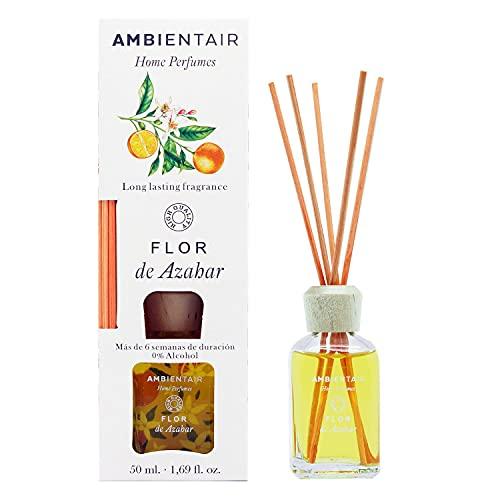 Ambientair Home Perfumes. Difusor de Varillas perfumadas. Ambientador Mikado Flor de Azahar. Difusor 50 ml con palitos de ratán. Ambientador sin Alcohol para casa.
