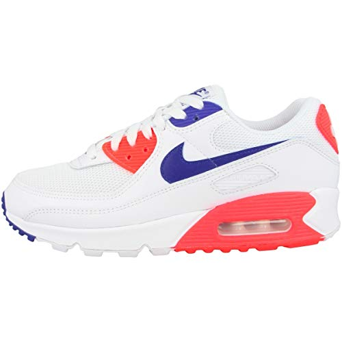 Nike W Air MAX 90, Zapatillas para Correr Mujer, White Racer Blue Flash Crimson, 36 EU
