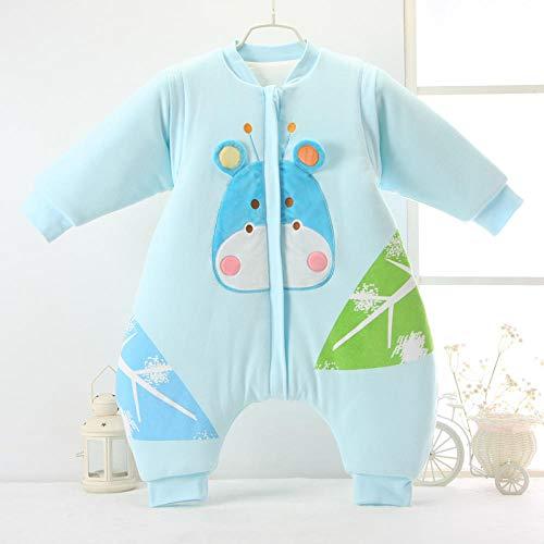 Unisex baby inbakerdekens, gebreide katoenen babyslaapzak met gespleten benen-8825 Lake Blue_M0-1 jaar oud, dikke warme slaapzak voor pasgeboren baby's