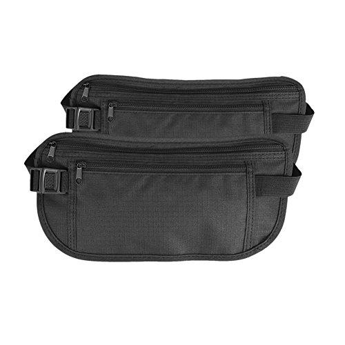 Preisvergleich Produktbild Reise Bauchtasche Flach Gürteltasche für Damen und Herren - Leichte Hüfttasche Geldgürtel für Reisen 2 PACK (schwarz)