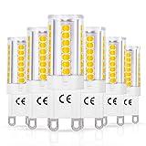 G9 Bombillas LED, LOHAS 5W Equivalentes a Lámparas Halógenas de 40W, Blanca Cálida 3000K, 400LM, Ángulo de Haz de 360°, AC 220-240V, No Regulable, Paquete de 6 Unidades
