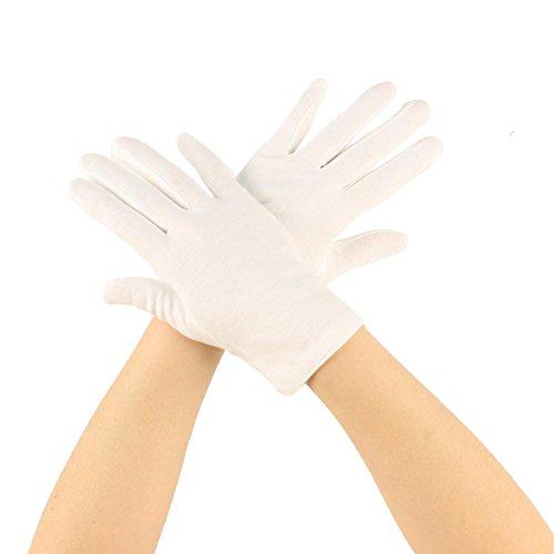 Matte 100% Cotton Stretchy Wrist Length Plain Blank Thin Gloves White 1 Pair Medium