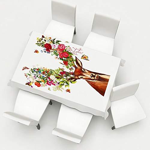 5pcs / set floral Presidente imprimió la cubierta y un mantel Set Spandex elástico Cubre Sillas de Navidad Decoración extraíble lavable comedor Caso del asiento