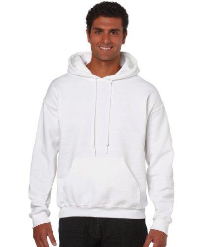 Gildan Herren Adult 50/50 Cotton/Poly. Hooded Sweat Sweatshirt, Weiß (White), XX-Large (Herstellergröße: XXL)