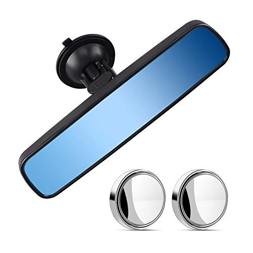 Heart Horse Anti-glare Rear View Mirror, Universal Car Truck Interior RearView Mirror ANTI GLARE Suction Cup Blue Mirror (9.6''X2.6'', 24.5cm X 6.6cm)