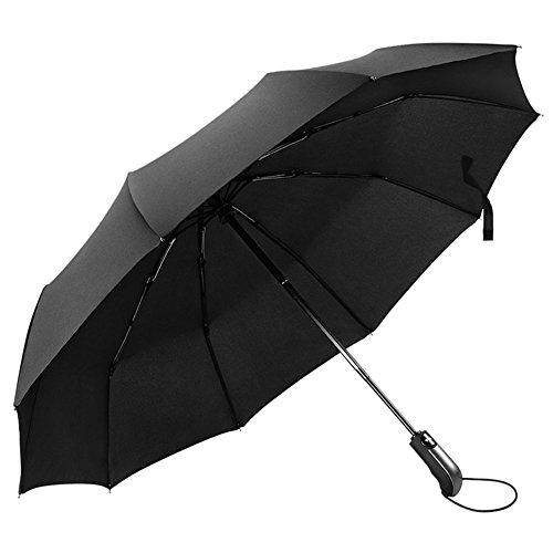 Paraguas Plegable Automático Resistencia Contra Viento 10 Varillas, MLoveBiTi Paraguas para Viaje Con Apertura Clausura Automático para Hombres y Mujeres, Negro