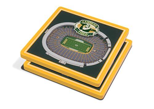 YouTheFan NFL 3D Team StadiumViews 4x4 Coasters - Set of 2, Green Bay Packers, 4