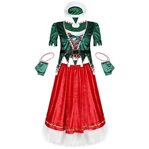 QINQI Disfraz De Navidad para Mujer Disfraz De ActuacióN De Escenario De áRbol De Navidad Sexy Disfraz De Navidad (Sombrero De Navidad + Top + Falda + CinturóN + Guantes X2)