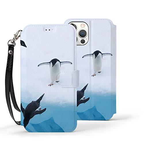 Ip12-6.1 Funda de cuero Flip Teléfono Billetera Cubierta A Prueba De Golpes Pingüinos Buceo Agua Protección Con Ranura Para Tarjeta Soporte Kickstand