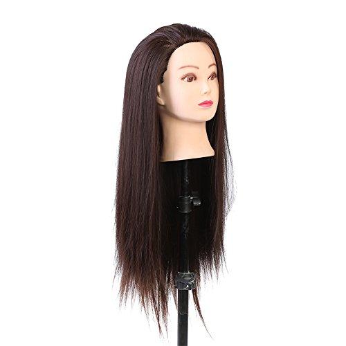 Maquillage tête de mannequin, extensions de cils de vrais cheveux Coiffeur formation tête cosmétologie tête de poupée blond foncé brun costume pour blanchiment et teintur