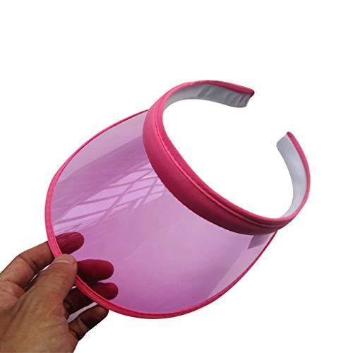 JERKKY Visiera da Sole Cappello da Donna Unisex Summer Sweet Candy Colore Protezione UV Open Top Trasparente PVC Plastic Ampio Bordo Clip-On Sport Running Beach cap Rosa