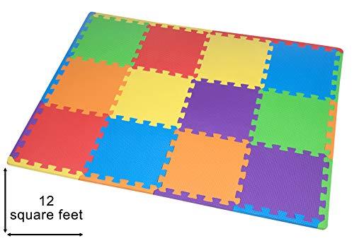 Juego de alfombrillas de espuma EVA para niños de Edukit, 12 azulejos