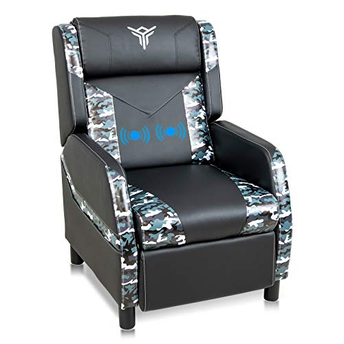 ELECWISH Single Ergonomic Lounge Sofa Massage Gaming Recliner Chair with Footrest Racing Style Modern PU Leather Reclining Home Theater Seat for Living & Gaming Room (Camouflage Blue)
