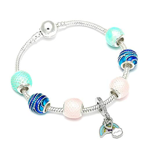 Price comparison product image FJ-Direct Animal Mickey Charm Bracelets & Bangles Women Jewelry Minnie Pink Bow-Knot Pendant Brand Bracelet DIY Handmade for Girl Gift, Blue Zinc Plated, 18cm