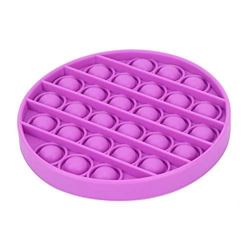 Dispositivos de bolhas ulares Adaskala brinquedo sensorial Dispositivos de bolhas de silicone compactado puro brinquedo dos sentidos - um brinquedo para aliviar o estresse que pode aliviar as emoções ruins de crianças e adultos (redondo, roxo)