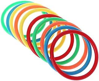 MYLOVE 10 Pcs Plastic Toss Rings Target Throw Carnival Backyard Park Games Kids Intelligence Development Educational Exerc...