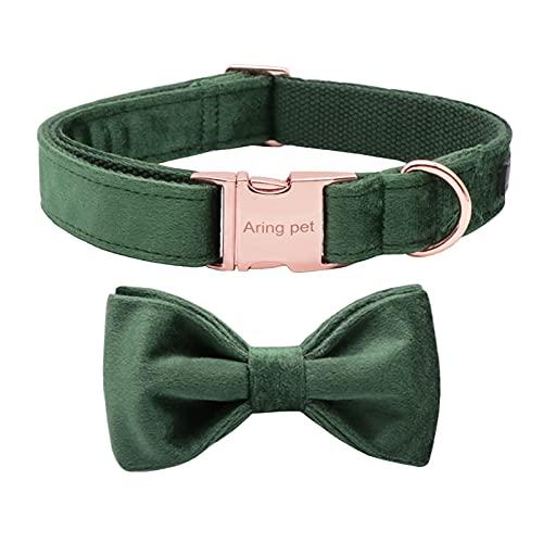 ARING PET Dog Collars with Bowtie-Velvet Dog Bow tie Collar, Adjustable Dark Green Dog Collar