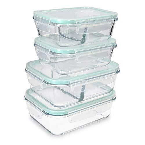 Navaris Glas Frischhaltedose Set mit Deckel - 4x Vorratsdosen in 2 Größen - auslaufsicher hitzebeständig kältebeständig - Glasbehälter Boxen