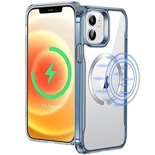 Compatible con carcasa protectora iPhone 12/12 Pro, carcasa protectora magnética compatible con carga inalámbrica, carcasa protectora híbrida transparente HD, resistente a los arañazos, antideslizante