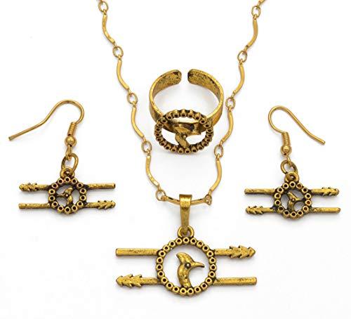 xtszlfj PNG Collar étnico y Pendientes/Anillos Conjuntos de Joyas para Mujeres, joyería de Boda de papúa Nueva Guinea