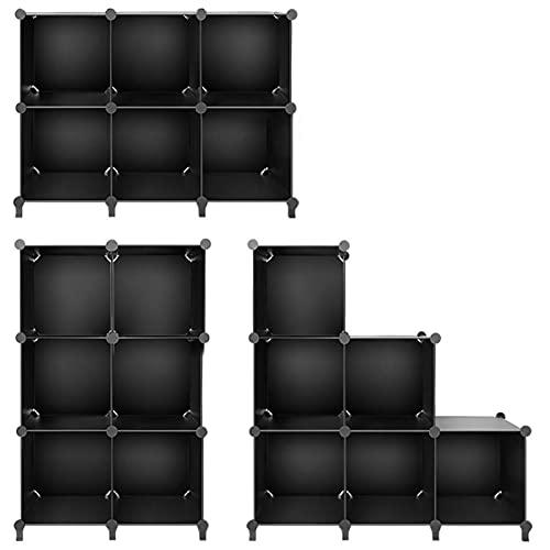 Organizador de almacenamiento de cubos, de plástico, con estantes de martillos para el hogar, dormitorio, oficina, sala de estar (color negro, tamaño: A)
