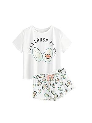 DIDK Women's Cute Cartoon Print Tee and Shorts Pajama Set White XL