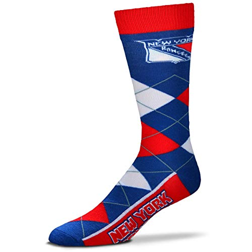 For Bare Feet NHL York Rangers Argyle Unisex Crew Cut Socks - One Size Fits Most …