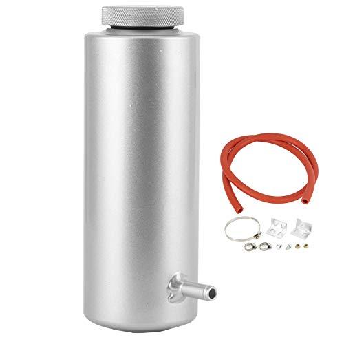 Tanque de captura de desbordamiento , Lata de captura de aceite refrigerante del radiador de aleación de aluminio Botella de tanque de desbordamiento Universal 800ml/27oz (3x7.5in)(Plata)
