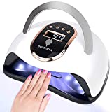 168W UV Led Nail Lamp Faster Gel Nail Dryer LED Nail Light GOYAESQUE Professional Gel Polish UV Curing Lamp with 4 Timmer Setting Protable Handle Large Space LCD Screen Automatic Sensor