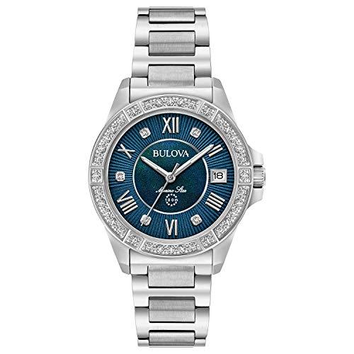 Bulova Women's Analog-Quartz Watch with Stainless-Steel Strap, Silver, 15 (Model: 96R215)