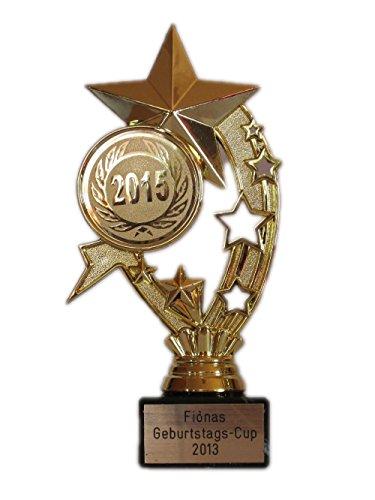 RaRu Geschenk-/Geburtstags-Pokal (Dicker Stern) mit Ihrem Wunschtext graviert (Jetzt mit 2020-Emblem)