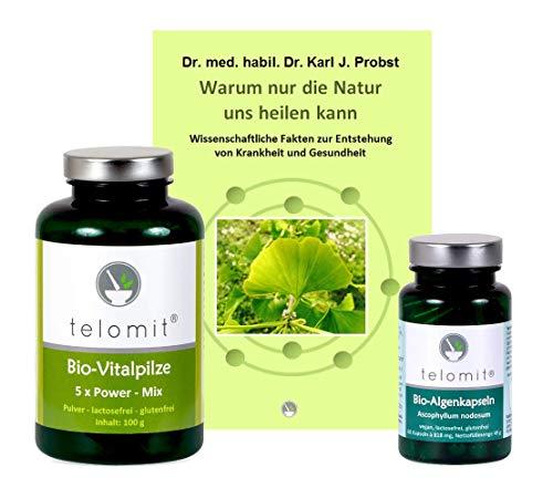 telomit - Bio-Algenkapseln (49 g), Bio-Vitalpilze 5x Power Mix (100 g) und