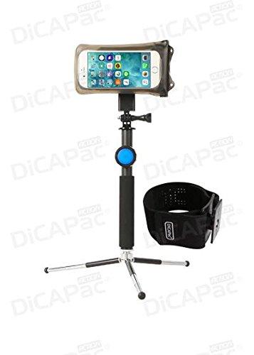 DiCAPac actie sportarmband met grote mobiele telefoons, waterdicht, GoPro-houder voor joggen en zwemmen, Alcatel OneTouch IDOL 3C / PIXI 3 (5.5) / POP C9