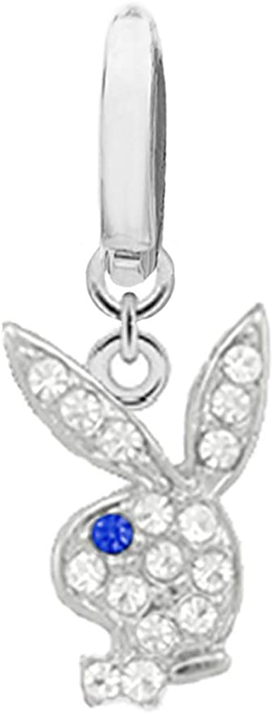 Fake Belly Navel No Piercing Needed Clip on Officially Licensed Clear cz Playboy Bunny w/Blue Eye Rabbit Dangle Ring