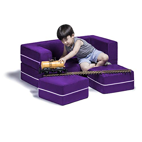 Jaxx Zipline Kids Modular Loveseat & Ottomans / Fold Out Lounger, Grape