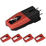 banpa 5 Pieces Record Player Needle with 1 Cartridge Turntable Diamond Replacement Stylus for Vinyl Record Player