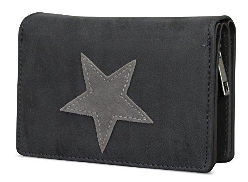 Damen Luxus Stern Geldbörse Geldbeutel Brieftasche Portemonnaie Damenbörse Börse Dunkelgrau