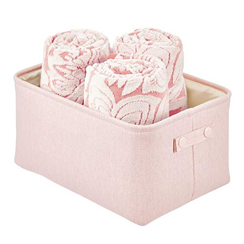 mDesign Cesta de tela con forro y diseño estructurado – Ideal como cesto para baño o como organizador de cosméticos – Práctico organizador de baño de algodón con asas – rosa claro