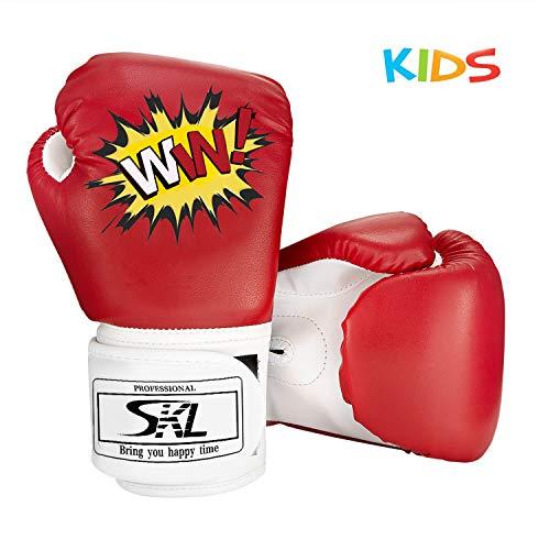 SKL Kinder Boxhandschuhe, Pu Kinder Kinder Cartoon Sparring Boxhandschuhe Training Alter 5-12 Jahre (Rot)