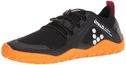Vivobarefoot Women's Primus SWIMRUN FG Specialist Firm Ground Trail Running Shoe, Black/Orange, 38 D EU (7.5 US)